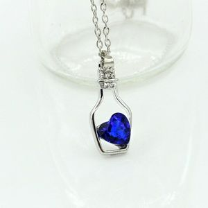 New Deep Blue Crystal Heart Necklace